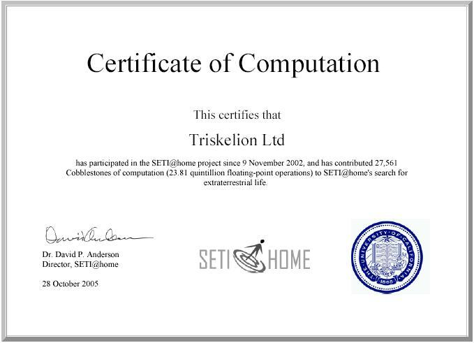 Triskelion seti@home boinc certificate